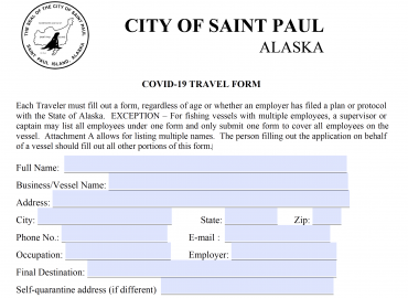 COVID-19 Travel Form